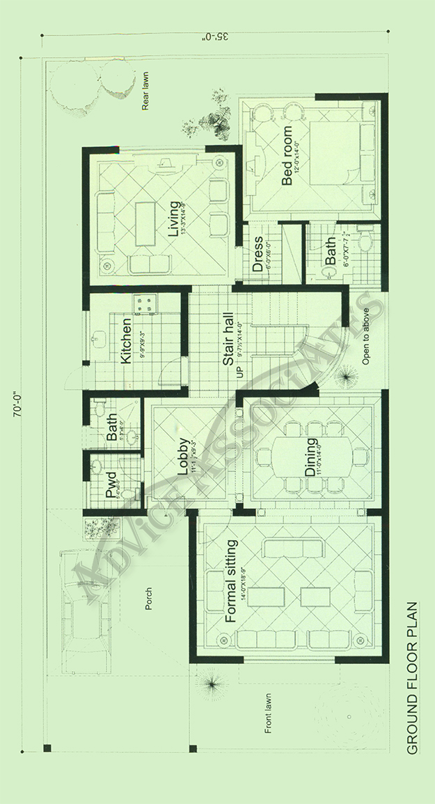 Bahria enclve 10 marla 3 bed house for sale on installment for Floor plans kitchen in front of house